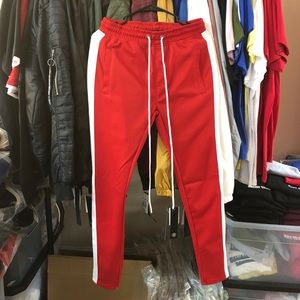 Pants - Track Pants - Red/White